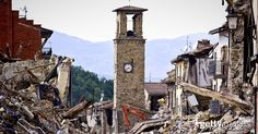Firefighters continue removing rubble near the bell tower in Amatrice, central Italy on August 30, 2016 Italy. Italy was struck by a powerful, 6.2-magnitude earthquake in the night of August 24, 2016, which has killed at least 293 people and devastated dozens of houses in the Lazio village of Pescara del Tronto, Accumoli and Amatrice.
