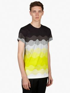 Socially Conveyed via WeLikedThis.co.uk - The UK's Finest Products -   MEN'S YELLOW TREVOR OMBRE WAVE PRINT COTTON T-SHIRT http://welikedthis.co.uk/?p=3898