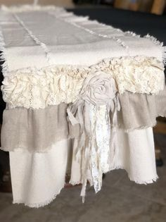 Custom Table Runner or Dresser runner multi ruffle ivory linen cotton canvas lace Handmade French Country Farmhouse dining room table design Shabby Chic Dining Room, Shabby Chic Homes, Shabby Chic Style, Shabby Chic Decor, Chabby Chic, Farmhouse Table Runners, Farmhouse Dining Room Table, Shabby Chic Accessories, Fabric Roses