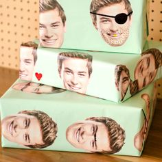 Custom photo face wrapping paper