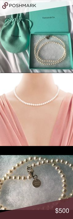 Authentic Tiffany & Co. pearl necklace 100% authentic Tiffany & Co. pearl necklace; New in box; Never Worn; Authentic box and care card included Tiffany & Co. Jewelry Necklaces