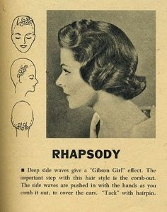 "Hairstyle: ""Rhapsody"" hair setting pattern by the Toni Company/ Vintage Hair/ Hair Tutorial/ Hair 1950s Hairstyles, Curled Hairstyles, Trendy Hairstyles, 1930s Hair, Vintage Curls, Vintage Waves, Vintage Hairstyles Tutorial, Retro Updo, Curl Pattern"