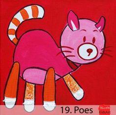 Kinderschilderij Poes. Dit vrolijke en kleurrijke schilderijtje is leuk als decoratie voor de kinderkamer. Shadow Painting, Elsa, Pikachu, Sewing, Kids, Animals, Fictional Characters, Young Children, Dressmaking