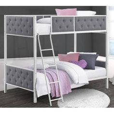 $249 Chesterfield Upholstered Bunk Bed, White Metal with Grey Linen - Walmart.com