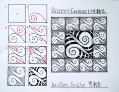 Croissant Zentangle doodles how to Tangle: Pattern Tutorial #Tutorial #zentangle #tangle Zentangle Steps | ZenTangle Instructions /Steps /How To /Patterns / Tags: tangle zentangle zendoodle tanglepattern zentangleinspiredart