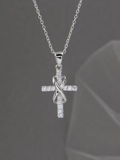 Infinity Cross Necklace Bridal jewelry Wedding by CrystalAvenues, $36.00