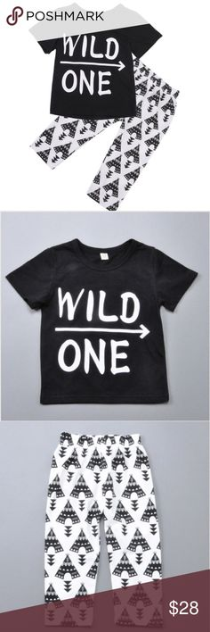 """•Wild One Outfit• Super cute outfit set that is super soft for the kiddos!! the collar is """"o"""" neck & is made out of polyester & cotton. Matching Sets"""