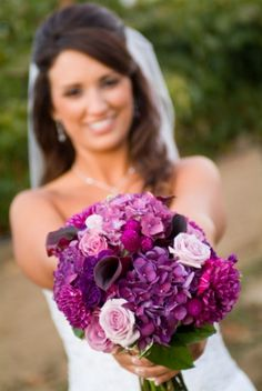 purple amaranth fuchsia wedding bouquet