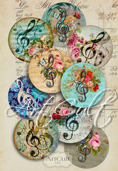 MUSIC CLEF - Digital Collage Sheet 1.5 inch size Circles Printable Art Cult Download for pendants bezel settings paper craft