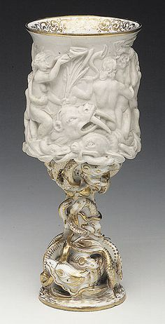 Biscuit and Glazed Porcelain Goblet, c. 1830-1845, the atelier of Jacob Petit