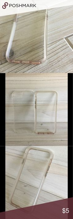 Clear Apple IPhone 7 Cell Phone Case Protector Clear IPhone 7 Cell Phone Case Protector in fair condition. I cannot remember the brand--it is not speck. Two pieces: inner soft frame and outer hard shell. Superficial scuffs, scratches, wear on back of case, but NO cracks in plastic. Some discoloration in inner soft frame, buttons are worn (missing metallic color). Sold as-is 😀💕 Accessories Phone Cases
