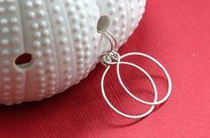Hand Formed Argentium Sterling Silver Simple Circle Loop Earrings - Ella, by PrincessTingTing, $14.00