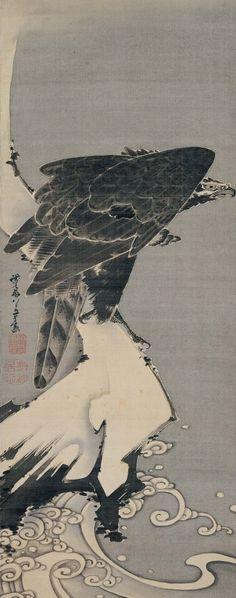 Itō Jakuchū (Japan, 1716–1800), Eagle, 1800, Hanging scroll; ink on silk