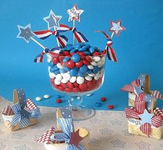 Red White and Blue Party Decor and Table Centerpieces