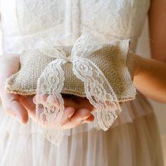 rustic burlap wedding ring bearer pillow (lace ties). $15.00, via Etsy.