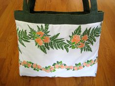 Large Tote Bags Hawaiian Coral Peach Rose Flowers Leis Leaves Ferns, Creamy White COTTON Green BURLAP Christmas Easter Birthday Beach Resort ~ Available on www.MaliakeiBags.com