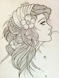 Girl in Hat coloring Page #AdultCP