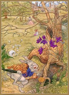 Alice in Wonderland by Angel Dominguez White Rabbit Alice In Wonderland, Alice In Wonderland Theme, Adventures In Wonderland, Lewis Carroll, Pictures To Draw, Art Pictures, Drawing Pictures, Dear Alice, Illustrations Posters