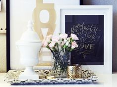 Glam vanity vignette with Made by Girl Love Print In Metallic Gold, ...
