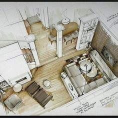 Home Decoration With Flowers Key: 6059268147 Interior Design Renderings, Drawing Interior, Interior Rendering, Interior Sketch, Plans Architecture, Architecture Drawings, Architecture Portfolio, Architecture Design, Sketches Arquitectura
