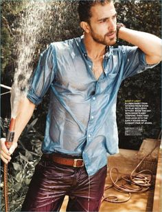 Rocking a wet Country Road shirt, Clint Mauro also wears a Ben Sherman belt and Mango Man shorts.