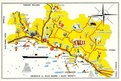 """Cartina turistica all'interno dell'opuscolo """"Genova. Il suo mare. I suoi monti"""".(Pampaglini, 1959)"""