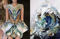 Alexander McQueen, Plato's Atlantis, primavera/verano Look Maggi Hambling, Summer Wave Tunnel, 2009 Foto Fashion, Seoul Fashion, Fashion Art, High Fashion, Fashion Beauty, Fashion Collage, Fashion Prints, Botanical Fashion, Moda Floral