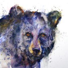 BLACK BEAR Face Watercolor by Dean Crouser by DeanCrouserArt, $25.00