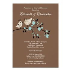 Modern Love Birds Couples Bridal Shower Invitation