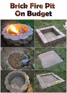 DIY Fireplace Ideas - Brick Firepit On A Budget - Do It Yourself Firepit Projects and Fireplaces for Your Yard, Patio, Porch and Home. Outdoor Fire Pit Tutorials for Backyard with Easy Step by Step Tutorials - Cool DIY Projects for Men and Women http://diyjoy.com/diy-fireplace-ideas