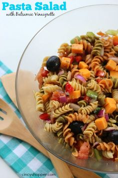 Easy Pasta Salad with Balsamic Vinaigrette Dressing Recipe. Perfect flavors and so simple to make up for summer picnics.