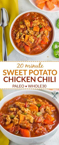 A simple paleo compliant 20 minute sweet potato chicken chili recipe perfect for busy weekdays. via A simple paleo compliant 20 minute sweet potato chicken chili recipe perfect for busy weekdays. Chili Recipes, Soup Recipes, Chicken Recipes, Dinner Recipes, Cooking Recipes, Healthy Recipes, Easy Recipes, Best Paleo Chili Recipe, Paleo Recipes Simple