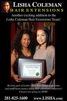 Become part of Lisha's Hair Extensions team today  and make more money doing hair extensions tomorrow!  Classes are going on NOW! 281-825-1600 https://www.youtube.com/watch?v=Nc5vNaz-TkE