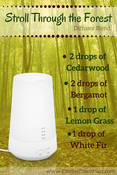 Diffuser Blend of the Week   It is getting warmer outside and that brings me back to memories of hiking and camping. There is just nothing quite like the scent of the forest. Try this diffuser blend to get back in touch with nature.   Want to try out all of our blends of the week? Check out our website and read all about Emmi's Essentials mini diffuser. You won't regret it!