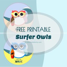 free printable surfer owl labels - catch the wave theme