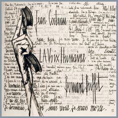 La Voix humaine, calligraphié et illustré par Bernard Buffet en 1957.  Cocteau illustré ou le dialogue texte/image