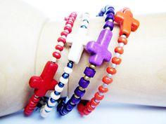Cross Bracelets Beaded  Set of 4  Memory Wire by byjuliarubio, $20.00