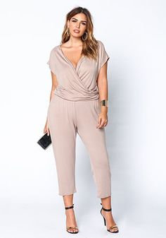 Plus Size Taupe Cropped Drawstring Jumpsuit - Debshops.com