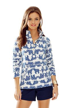 Lilly Pulitzer Captain Printed Popover, Indigo Pack Your Trunks, Size Small