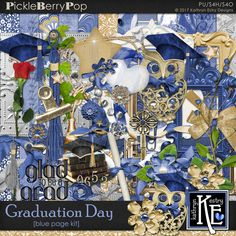 Graduation Day - Blue Page Kit :: Coordinates with the entire Graduation Day Digital Scrapbooking Collection by Kathryn Estry @ PickleberryPop $7.99