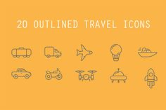 20 Outlined Travel Icons - Freebies