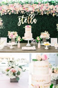 Moms-to-be everywhere will LOVE this gorgeous boho chic baby shower with shades of soft pinks, greens and pops of gold! via Source by sbeytan chic baby shower ideas Idee Baby Shower, Elegant Baby Shower, Floral Baby Shower, Baby Shower Cakes, Baby Shower Themes, Baby Shower Decorations, Shower Ideas, Girl Babyshower Themes, Shabby Chic Baby Shower