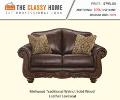 Mellwood Traditional Walnut Solid Wood Leather Loveseat