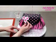 Торт в виде гламурной сумочки с мастики - YouTube