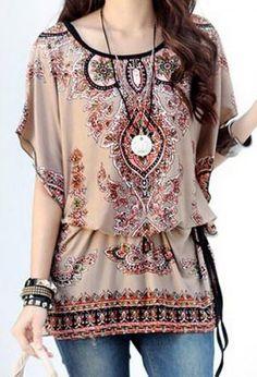 Love these Colors! Love the Design! Boho Chic Elegant Scoop Neck Dolman Sleeve Ethnic Print T-Shirt #Boho #Chic #Khaki #Black #Tribal #Print #Pullover #Top #Slimming #Fashion #Jewelry #Accessories