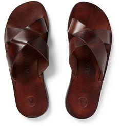 Alvaro Leather Slide Sandals in rusty brown