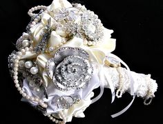 wedding Broooch bouquet ,alternative wedding brooch  bouquet, bridal brooch bouquet,  bridesmaids bouquet, brooch  bouquet, jewelry bouquet. $125.00, via Etsy.