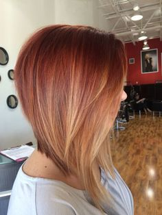Dramatic Inverted Bob with Red Ombre