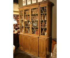 English Georgain Pine Breakfront Bookcase at St. Martin's Gallery!  Great loaded up with books!