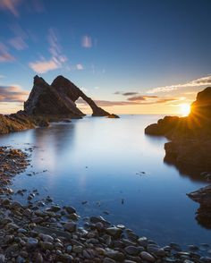 Sea arch Bow Fiddle Rock on the north-eastern coast of Scotland near Portknockie #sp #scotland